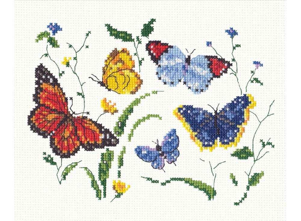 Набор для вышивания «Танец бабочек-2»Вышивка крестом Чудесная игла<br><br><br>Артикул: 42-02<br>Основа: канва Aida 14 (хлопок)<br>Сложность: легкие<br>Размер: 19х11 см<br>Техника вышивки: счетный крест<br>Тип схемы вышивки: Цветная схема<br>Цвет канвы: Белый<br>Количество цветов: 16<br>Игла: № 24<br>Рисунок на канве: не нанесён<br>Техника: Вышивка крестом<br>Нитки: мулине 100% хлопок Bestex