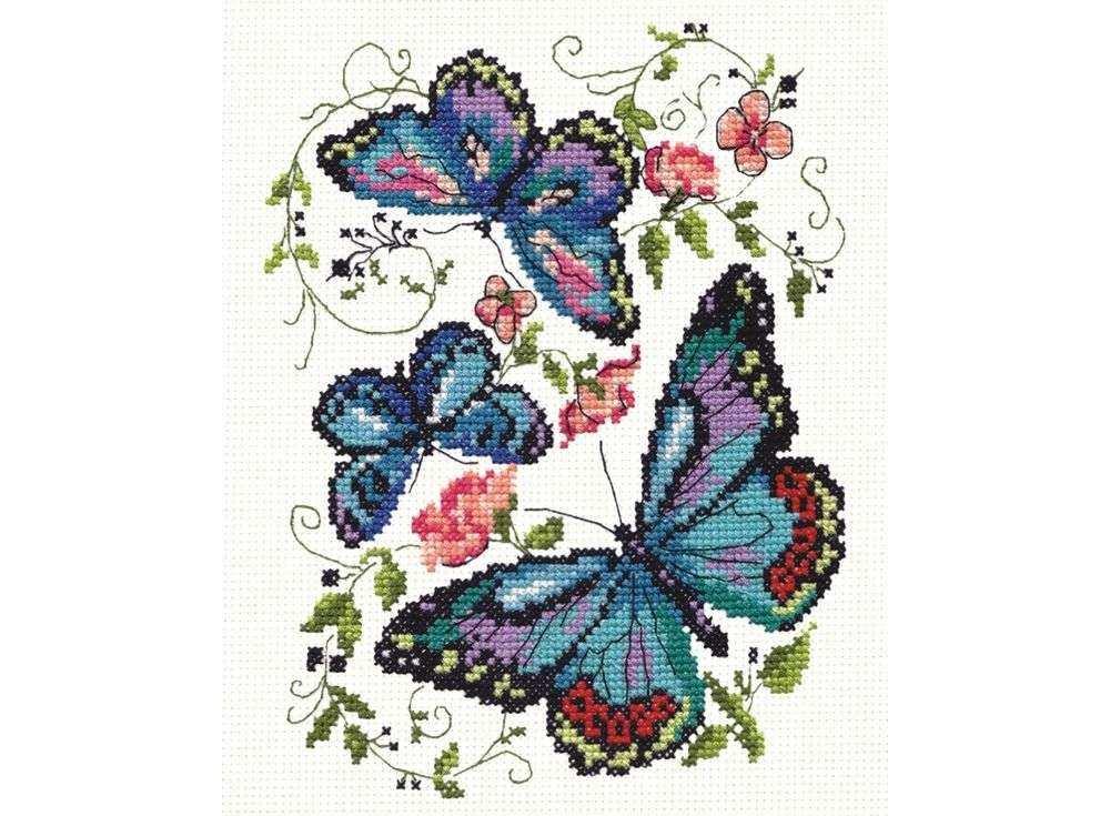 Набор для вышивания «Синие бабочки»Вышивка крестом Чудесная игла<br><br><br>Артикул: 42-03<br>Основа: канва Aida 14 (хлопок)<br>Сложность: легкие<br>Размер: 15х18 см<br>Техника вышивки: счетный крест<br>Тип схемы вышивки: Цветная схема<br>Цвет канвы: Белый<br>Количество цветов: 16<br>Игла: № 24<br>Рисунок на канве: не нанесён<br>Техника: Вышивка крестом<br>Нитки: мулине 100% хлопок Gamma
