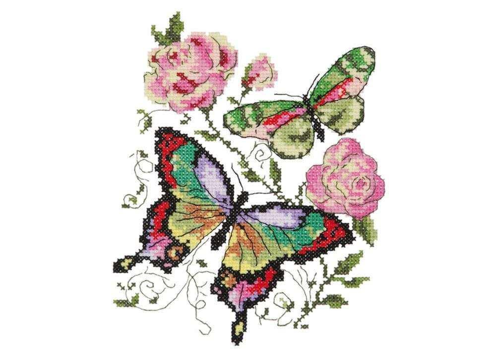 Набор для вышивания «Бабочки и розы»Вышивка крестом Чудесная игла<br><br><br>Артикул: 42-04<br>Основа: канва Aida 14 (хлопок)<br>Сложность: легкие<br>Размер: 14х18 см<br>Техника вышивки: счетный крест<br>Тип схемы вышивки: Цветная схема<br>Цвет канвы: Белый<br>Количество цветов: 16<br>Игла: № 24<br>Рисунок на канве: не нанесён<br>Техника: Вышивка крестом<br>Нитки: мулине 100% хлопок Gamma