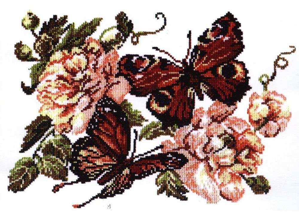 Набор для вышивания «Пионы и бабочки»Вышивка крестом Чудесная игла<br><br><br>Артикул: 42-06<br>Основа: канва Aida 14 (хлопок)<br>Сложность: средние<br>Размер: 30х22 см<br>Техника вышивки: счетный крест<br>Тип схемы вышивки: Черно-белая схема<br>Цвет канвы: Белый<br>Количество цветов: 14<br>Игла: № 24<br>Рисунок на канве: не нанесён<br>Техника: Вышивка крестом<br>Нитки: мулине 100% хлопок Чудесная игла