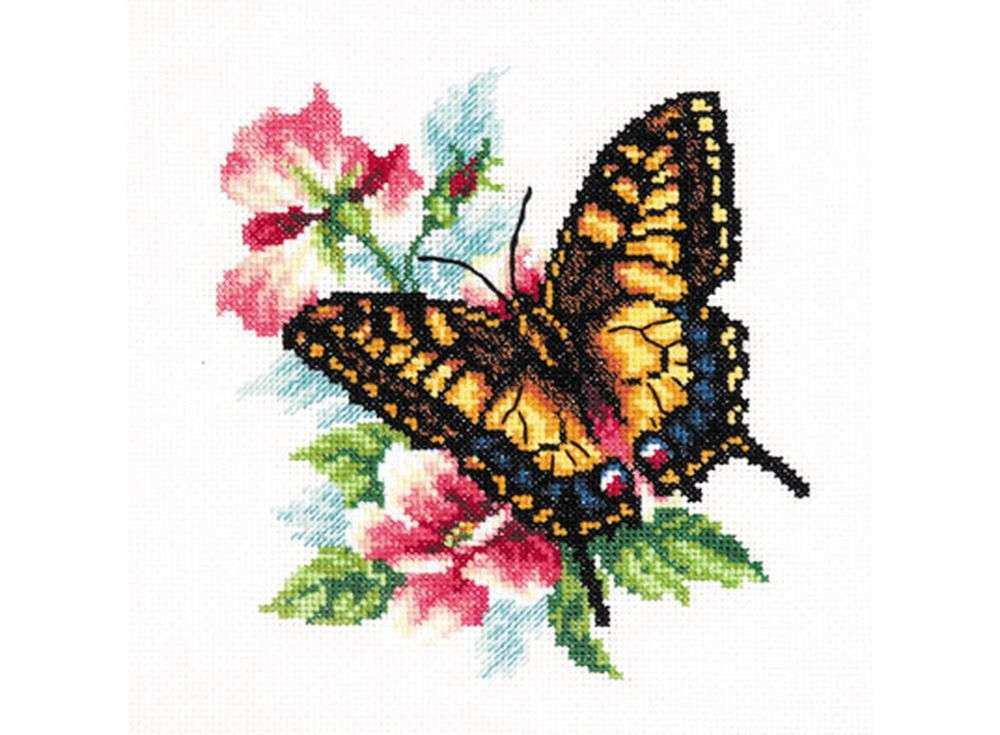 Набор для вышивания «Махаон»Вышивка крестом Чудесная игла<br><br><br>Артикул: 42-10<br>Основа: канва Aida 14 (хлопок)<br>Сложность: легкие<br>Размер: 17х18 см<br>Техника вышивки: счетный крест<br>Тип схемы вышивки: Цветная схема<br>Цвет канвы: Белый<br>Количество цветов: 18<br>Игла: № 24<br>Рисунок на канве: не нанесён<br>Техника: Вышивка крестом<br>Нитки: мулине 100% хлопок Чудесная игла