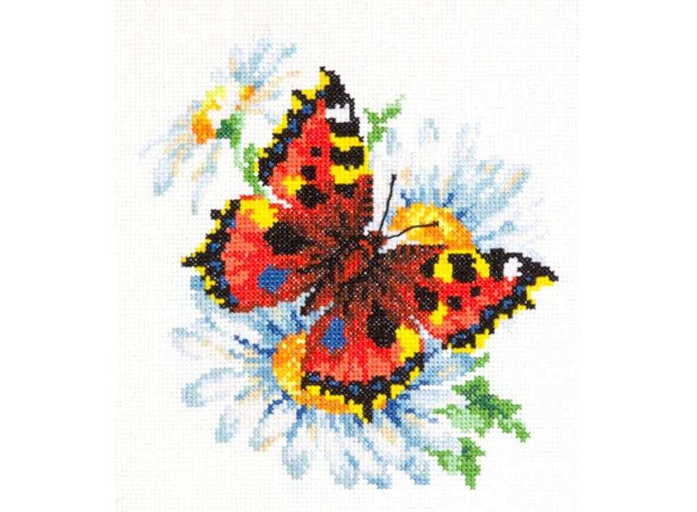 Набор для вышивания «Бабочка и ромашка»Вышивка крестом Чудесная игла<br><br><br>Артикул: 42-11<br>Основа: канва Aida 14 (хлопок)<br>Сложность: легкие<br>Размер: 17х18 см<br>Техника вышивки: счетный крест<br>Тип схемы вышивки: Цветная схема<br>Цвет канвы: Белый<br>Количество цветов: 29<br>Игла: № 24<br>Рисунок на канве: не нанесён<br>Техника: Вышивка крестом<br>Нитки: мулине 100% хлопок Чудесная игла