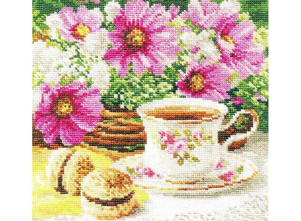 Набор для вышивания «Утренний чай»Вышивка крестом Алиса<br><br><br>Артикул: 5-12<br>Основа: канва Aida 16 100% хлопок Gamma<br>Размер: 18x18 см<br>Тип схемы вышивки: Цветная схема<br>Цвет канвы: Белый<br>Количество цветов: 34<br>Рисунок на канве: не нанесён<br>Техника: Вышивка крестом<br>Нитки: мулине 100% хлопок Gamma