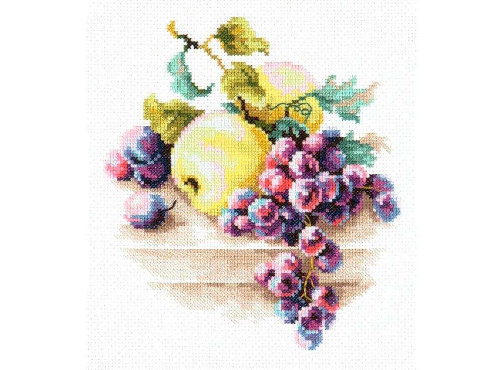 Набор для вышивания «Виноград и яблоки»Вышивка крестом Чудесная игла<br><br><br>Артикул: 50-05<br>Основа: канва Aida 14 (хлопок)<br>Сложность: легкие<br>Размер: 16х18 см<br>Техника вышивки: счетный крест<br>Тип схемы вышивки: Цветная схема<br>Цвет канвы: Белый<br>Количество цветов: 28<br>Игла: № 24<br>Рисунок на канве: не нанесён<br>Техника: Вышивка крестом<br>Нитки: мулине 100% хлопок Gamma