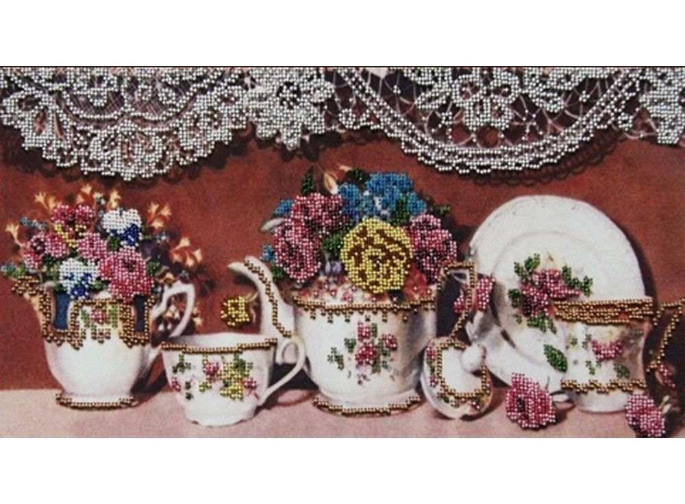Набор вышивки бисером «Чайный сервиз 2»Вышивка бисером Астрея (Глурия)<br><br><br>Артикул: 50070<br>Основа: габардин<br>Размер: 20х40 см<br>Техника вышивки: бисер<br>Тип схемы вышивки: Цветная схема<br>Количество цветов: 13<br>Заполнение: Частичное<br>Рисунок на канве: нанесён рисунок и схема<br>Техника: Вышивка бисером