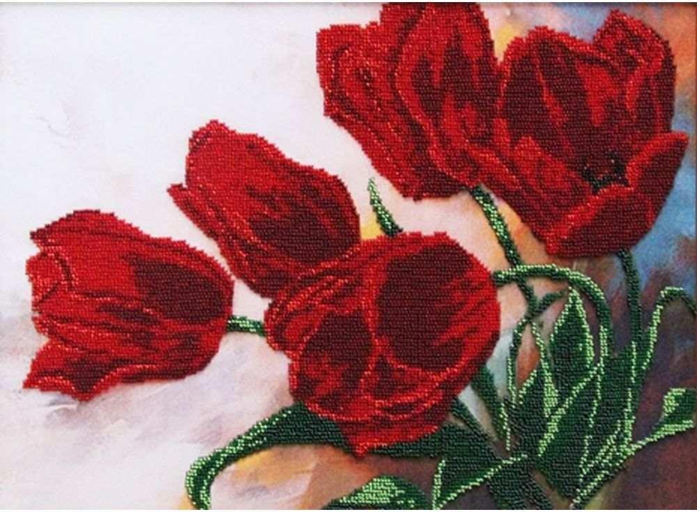 Набор вышивки бисером «Тюльпаны» Игоря ЛевашоваВышивка бисером Астрея (Глурия)<br><br><br>Артикул: 50086<br>Основа: габардин<br>Размер: 40х30 см<br>Техника вышивки: бисер<br>Тип схемы вышивки: Цветная схема<br>Количество цветов: 11<br>Заполнение: Частичное<br>Рисунок на канве: нанесён рисунок и схема<br>Техника: Вышивка бисером