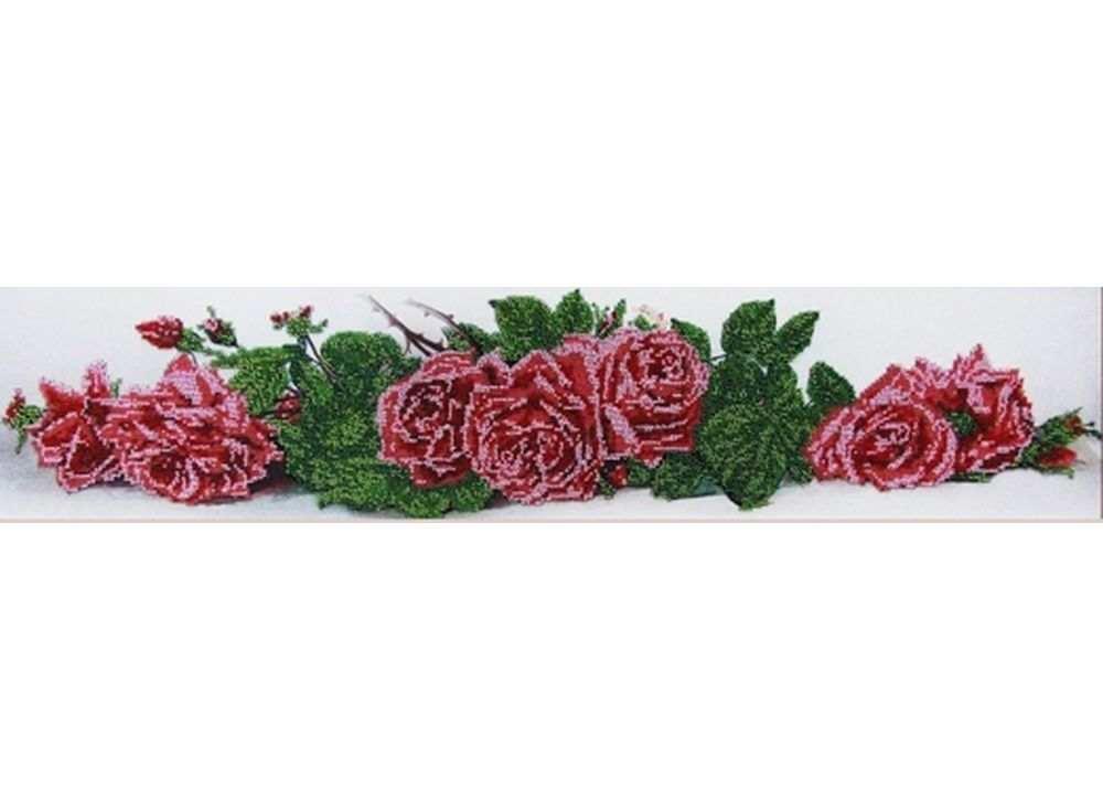 Набор вышивки бисером «Алые розы»Вышивка бисером Глурия (Астрея)<br><br><br>Артикул: 50090<br>Основа: габардин<br>Размер: 70х16 см<br>Техника вышивки: бисер<br>Тип схемы вышивки: Цветная схема<br>Количество цветов: 7<br>Заполнение: Частичное<br>Рисунок на канве: нанесён рисунок и схема<br>Техника: Вышивка бисером