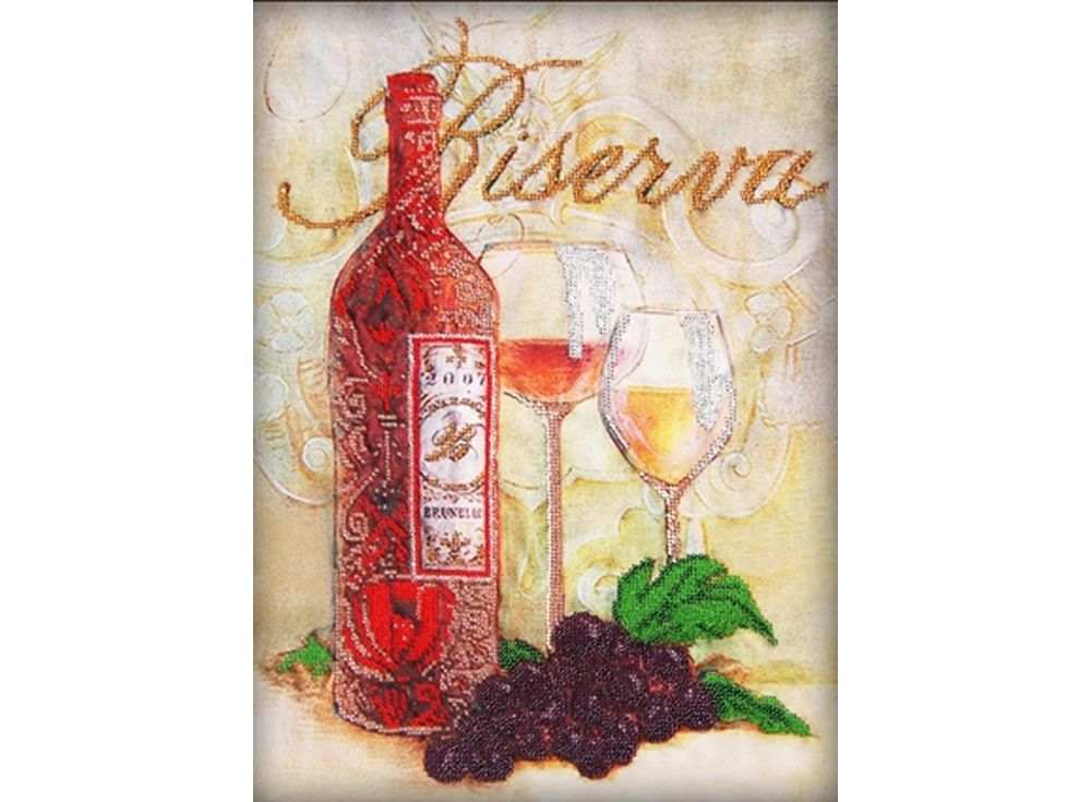 Набор вышивки бисером «Бокалы и вино»Вышивка бисером Глурия (Астрея)<br><br><br>Артикул: 50115<br>Основа: габардин<br>Размер: 30х40 см<br>Техника вышивки: бисер<br>Тип схемы вышивки: Цветная схема<br>Количество цветов: 10<br>Заполнение: Частичное<br>Рисунок на канве: нанесён рисунок и схема<br>Техника: Вышивка бисером