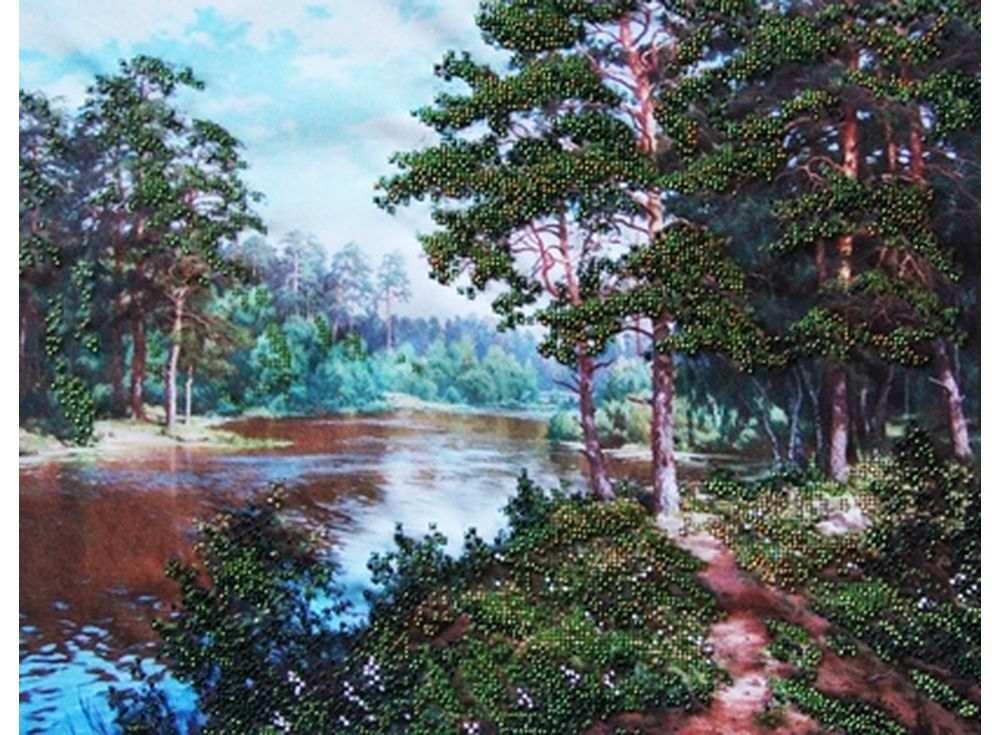 Набор вышивки бисером «Река в лесу»Вышивка бисером Астрея (Глурия)<br><br><br>Артикул: 51066<br>Основа: габардин<br>Размер: 40х32 см<br>Техника вышивки: бисер<br>Тип схемы вышивки: Цветная схема<br>Количество цветов: 8<br>Заполнение: Частичное<br>Рисунок на канве: нанесён рисунок и схема<br>Техника: Вышивка бисером