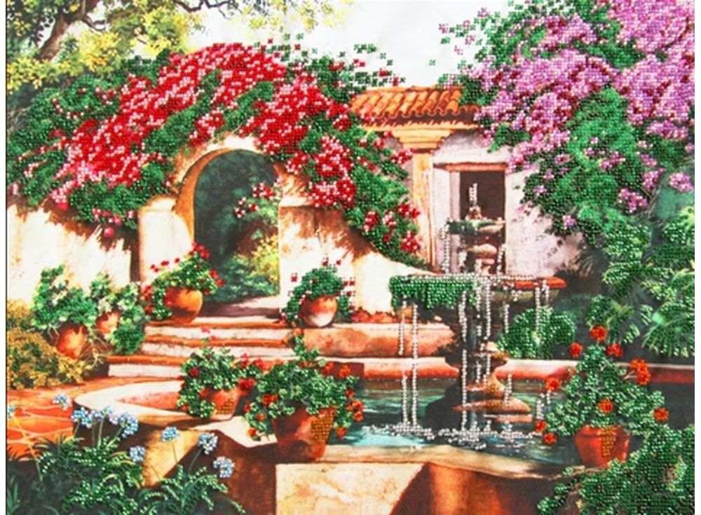 Набор вышивки бисером «Фонтан в саду»Вышивка бисером Глурия (Астрея)<br><br><br>Артикул: 51402<br>Основа: габардин<br>Размер: 40х30 см<br>Техника вышивки: бисер<br>Тип схемы вышивки: Цветная схема вышивки<br>Количество цветов: 13<br>Заполнение: Частичное