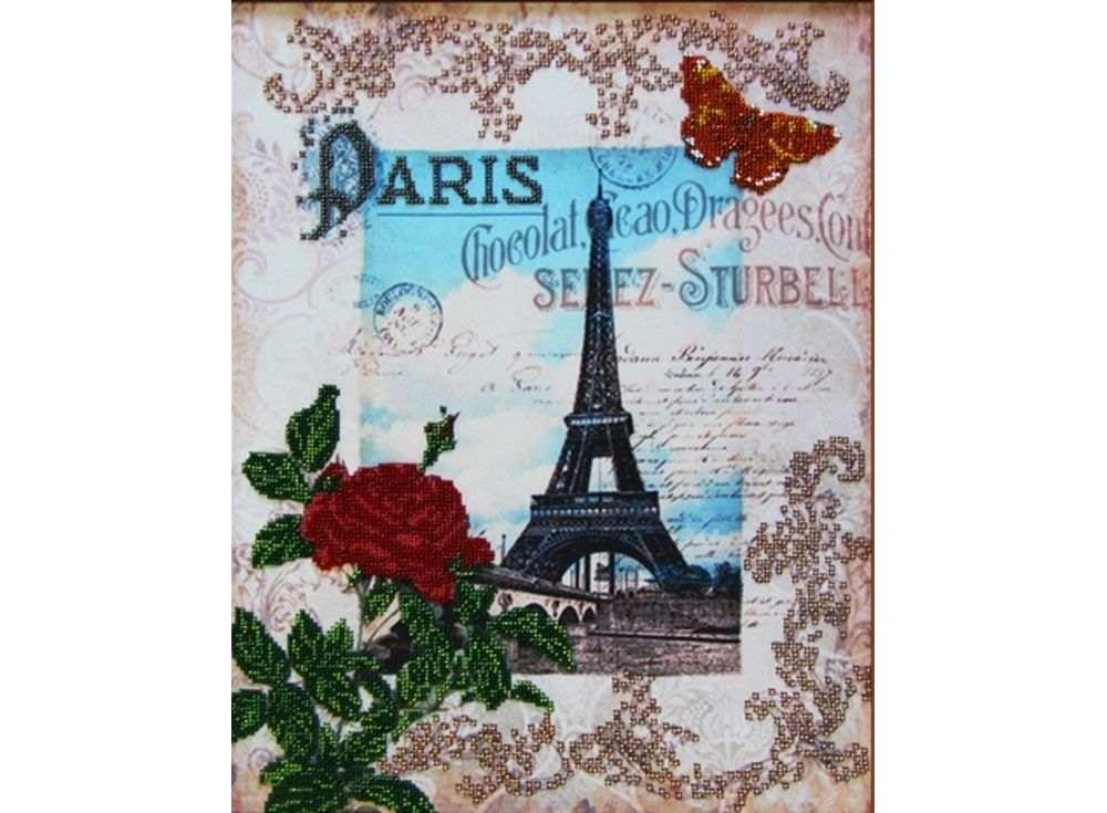 Набор вышивки бисером «Вокруг света - Париж»Вышивка бисером Глурия (Астрея)<br><br><br>Артикул: 51421<br>Основа: габардин<br>Размер: 40х32 см<br>Техника вышивки: бисер<br>Тип схемы вышивки: Цветная схема вышивки<br>Количество цветов: 13<br>Заполнение: Частичное