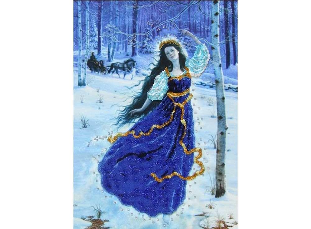 Купить Вышивка бисером, Набор вышивки бисером «Фея Зима», Астрея (Глурия), 40x30 см, 52030
