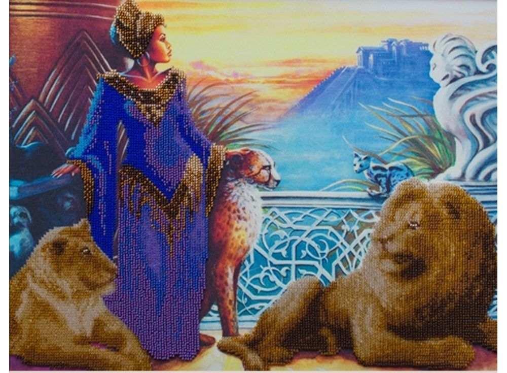 Набор вышивки бисером «Королева Египта»Вышивка бисером Астрея (Глурия)<br><br><br>Артикул: 55023<br>Основа: габардин<br>Размер: 30х40 см<br>Техника вышивки: бисер<br>Тип схемы вышивки: Цветная схема<br>Количество цветов: 13<br>Заполнение: Частичное<br>Рисунок на канве: нанесён рисунок и схема<br>Техника: Вышивка бисером