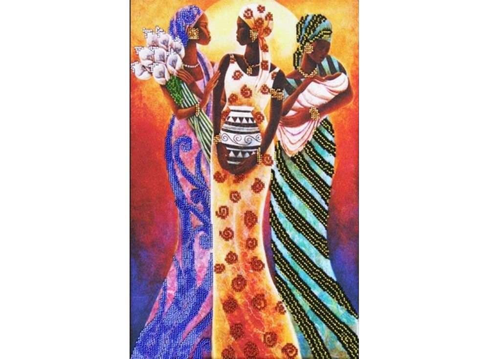 Набор вышивки бисером «Девушки Африки»Вышивка бисером Астрея (Глурия)<br><br><br>Артикул: 55055<br>Основа: габардин<br>Размер: 40х26 см<br>Техника вышивки: бисер<br>Тип схемы вышивки: Цветная схема<br>Количество цветов: 11<br>Заполнение: Частичное<br>Рисунок на канве: нанесён рисунок и схема<br>Техника: Вышивка бисером