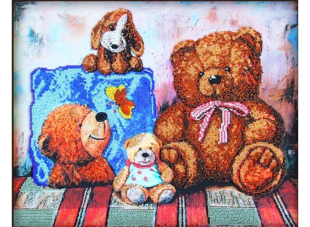 Набор вышивки бисером «Плюшевые медведи»Вышивка бисером Астрея (Глурия)<br><br><br>Артикул: 56018<br>Основа: габардин<br>Размер: 40х32 см<br>Техника вышивки: бисер<br>Тип схемы вышивки: Цветная схема<br>Количество цветов: 12<br>Заполнение: Частичное<br>Рисунок на канве: нанесён рисунок и схема<br>Техника: Вышивка бисером