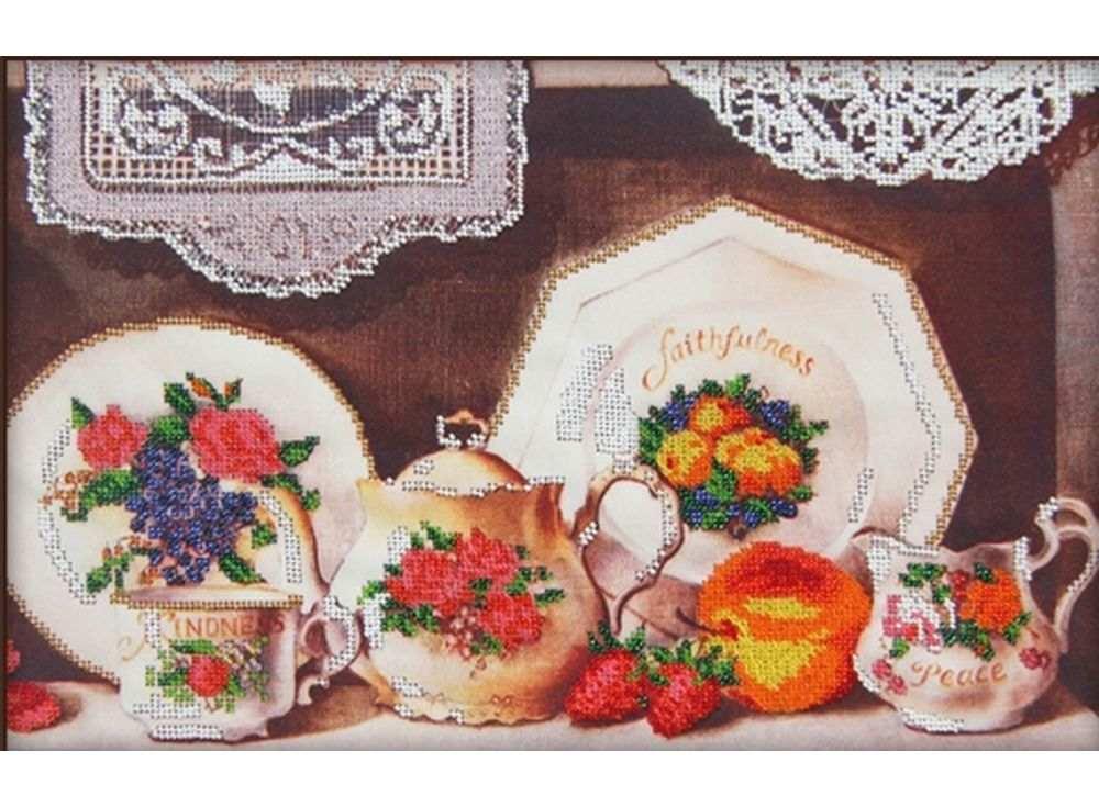 Набор вышивки бисером «Чайный сервиз 3»Вышивка бисером Астрея (Глурия)<br><br><br>Артикул: 60009<br>Основа: габардин<br>Размер: 40х26 см<br>Техника вышивки: бисер<br>Тип схемы вышивки: Цветная схема<br>Количество цветов: 12<br>Заполнение: Частичное<br>Рисунок на канве: нанесён рисунок и схема<br>Техника: Вышивка бисером