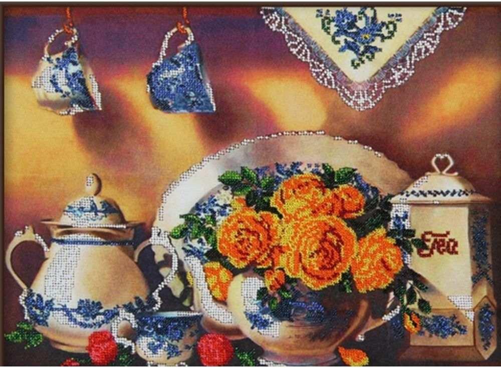 Купить Вышивка бисером, Набор вышивки бисером «Чайный сервиз 4», Астрея (Глурия), 40x30 см, 60010
