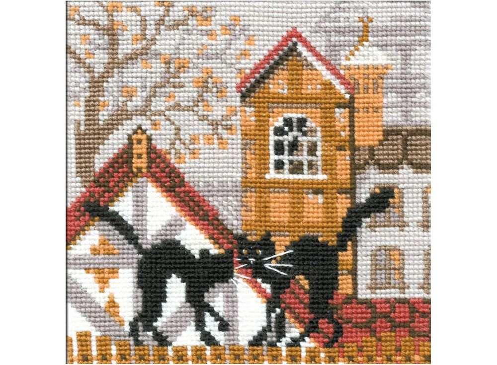 Набор для вышивания «Город и кошки.Осень»Вышивка крестом Риолис<br><br><br>Артикул: 613<br>Основа: канва 15 Aida Zweigart<br>Размер: 13х13 см<br>Техника вышивки: счетный крест<br>Серия: Риолис (Сотвори Сама)<br>Тип схемы вышивки: Цветная схема<br>Цвет канвы: Белый<br>Количество цветов: 9<br>Художник, дизайнер: Галина Скабеева<br>Заполнение: Полное<br>Рисунок на канве: не нанесён<br>Техника: Вышивка крестом