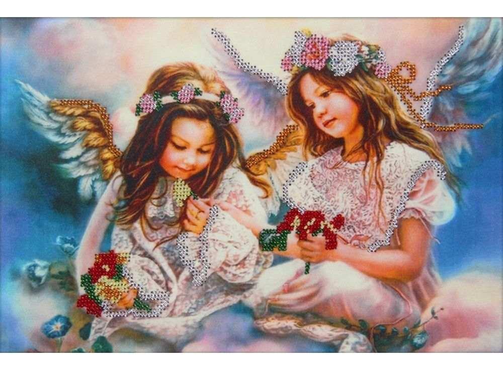 Набор вышивки бисером «Два ангела»Вышивка бисером Астрея (Глурия)<br><br><br>Артикул: 62006<br>Основа: габардин<br>Размер: 30х20 см<br>Техника вышивки: бисер<br>Тип схемы вышивки: Цветная схема<br>Количество цветов: 6<br>Заполнение: Частичное<br>Рисунок на канве: нанесён рисунок и схема<br>Техника: Вышивка бисером