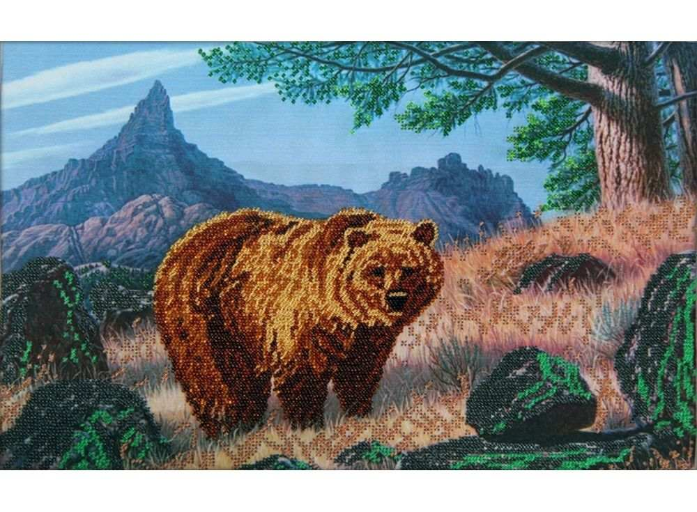 Набор вышивки бисером «Медведь»Вышивка бисером Астрея (Глурия)<br><br><br>Артикул: 63007<br>Основа: габардин<br>Размер: 40х26 см<br>Техника вышивки: бисер<br>Тип схемы вышивки: Цветная схема<br>Количество цветов: 10<br>Заполнение: Частичное<br>Рисунок на канве: нанесён рисунок и схема<br>Техника: Вышивка бисером