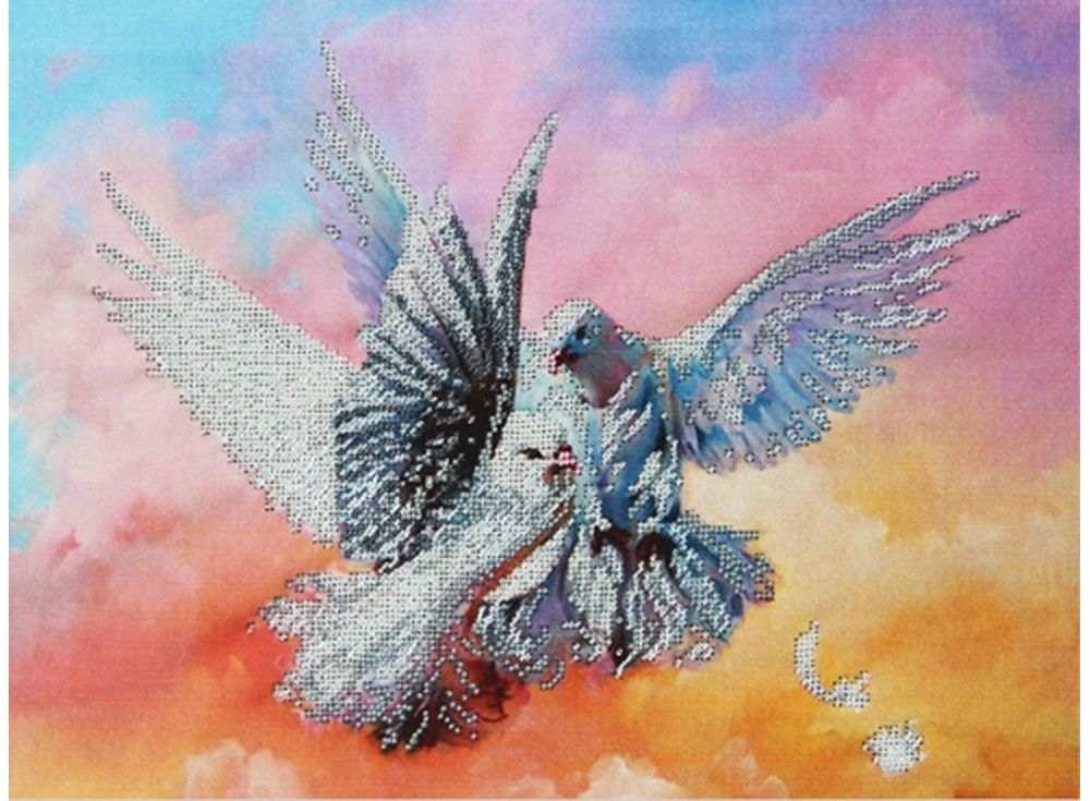 Купить Вышивка бисером, Набор вышивки бисером «Голубки», Астрея (Глурия), 40x30 см, 63102