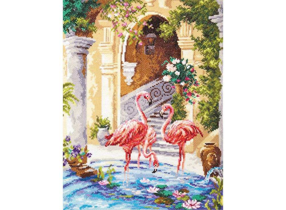 Набор для вышивания «Розовый фламинго»Вышивка крестом Чудесная игла<br><br><br>Артикул: 64-02<br>Основа: канва Aida 14 (хлопок)<br>Сложность: сложные<br>Размер: 30х39 см<br>Техника вышивки: счетный крест<br>Тип схемы вышивки: Цветная схема<br>Цвет канвы: Белый<br>Количество цветов: 42<br>Игла: № 24<br>Техника: Вышивка крестом