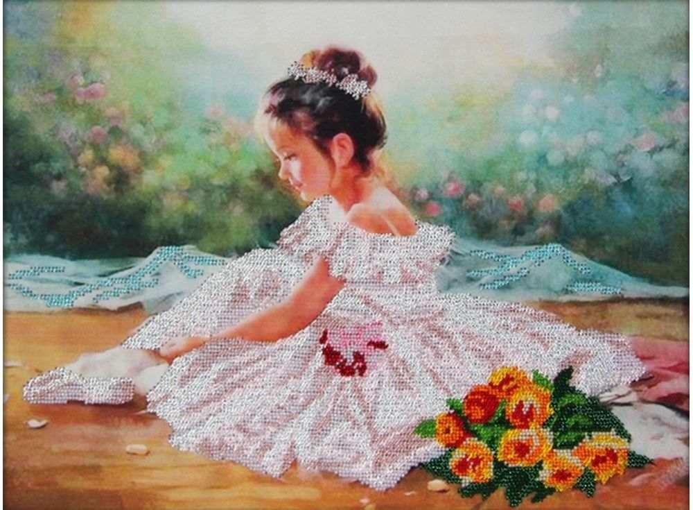 Набор вышивки бисером «Юная балерина»Вышивка бисером Астрея (Глурия)<br><br><br>Артикул: 65006<br>Основа: габардин<br>Размер: 40x30 см<br>Техника вышивки: бисер<br>Тип схемы вышивки: Цветная схема<br>Количество цветов: 14<br>Заполнение: Частичное<br>Рисунок на канве: нанесён рисунок и схема<br>Техника: Вышивка бисером