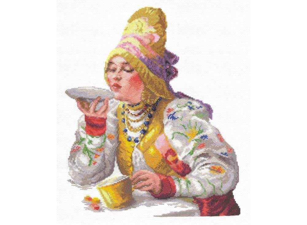 Набор для вышивания «Боярышня за чаем»Вышивка крестом Чудесная игла<br><br><br>Артикул: 66-01<br>Основа: канва Aida 14 (хлопок)<br>Сложность: сложные<br>Размер: 30х38 см<br>Техника вышивки: счетный крест<br>Тип схемы вышивки: Цветная схема<br>Цвет канвы: Белый<br>Количество цветов: 38<br>Игла: № 24<br>Рисунок на канве: не нанесён<br>Техника: Вышивка крестом<br>Нитки: мулине 100% хлопок Чудесная игла