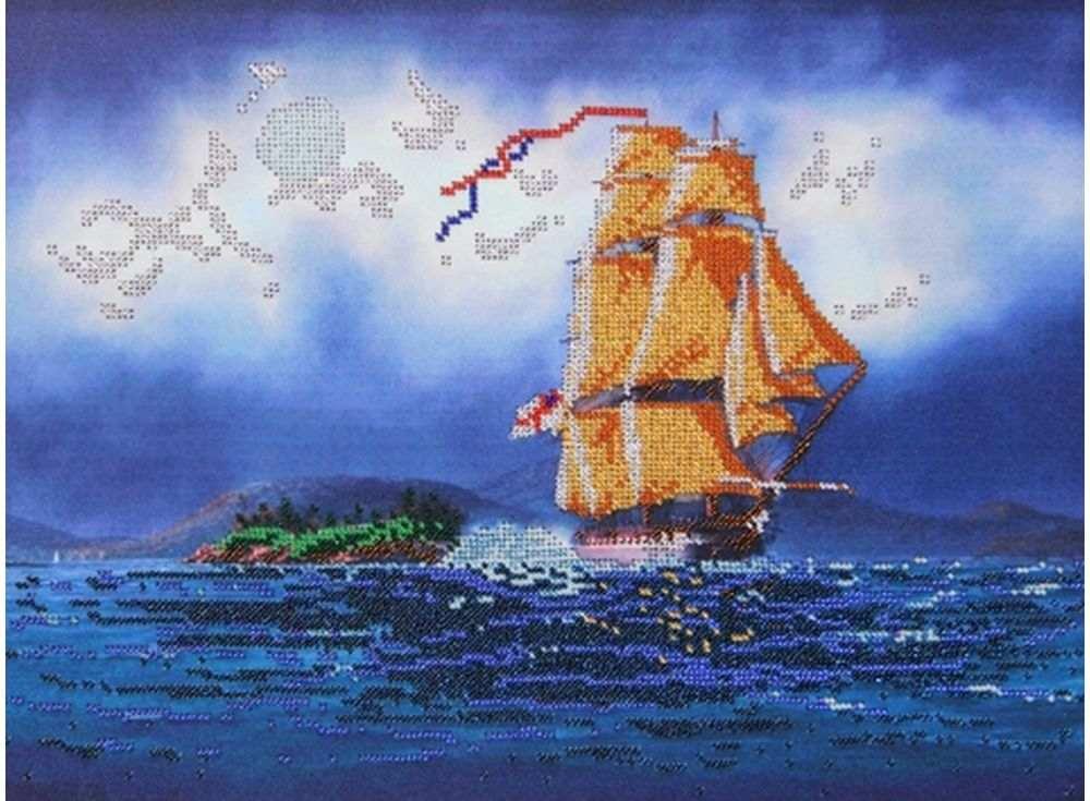 Купить Вышивка бисером, Набор вышивки бисером «Золотые паруса», Астрея (Глурия), 40x30 см, 67200