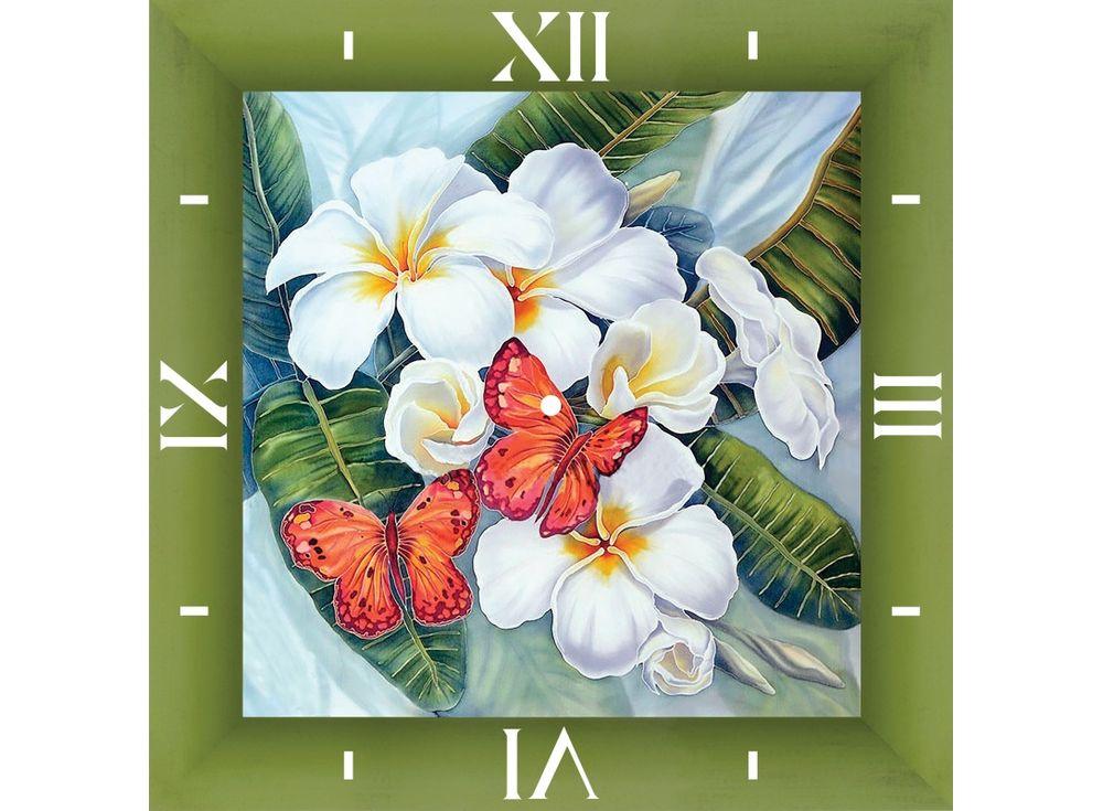 Алмазные часы «Бабочки и магнолии»Color Kit (Алмазные часы)<br><br><br>Артикул: 7303001<br>Основа: Холст на подрамнике<br>Сложность: средние<br>Размер: 30x30 см<br>Выкладка: Частичная<br>Количество цветов: 15-25<br>Тип страз: Круглые непрозрачные (акриловые)