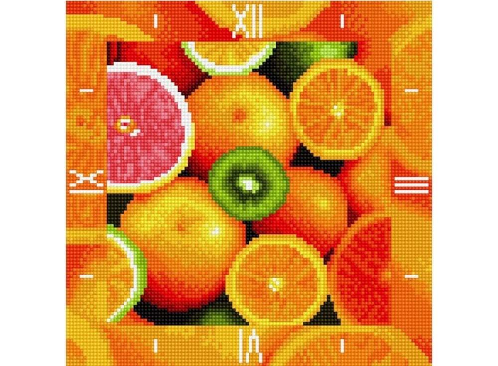 Алмазные часы «Фруктовый калейдоскоп»Color Kit (Алмазные часы)<br><br><br>Артикул: 7303002-P<br>Основа: Холст на подрамнике<br>Сложность: сложные<br>Размер: 30x30 см<br>Выкладка: Полная<br>Количество цветов: 15-25<br>Тип страз: Круглые непрозрачные (акриловые)