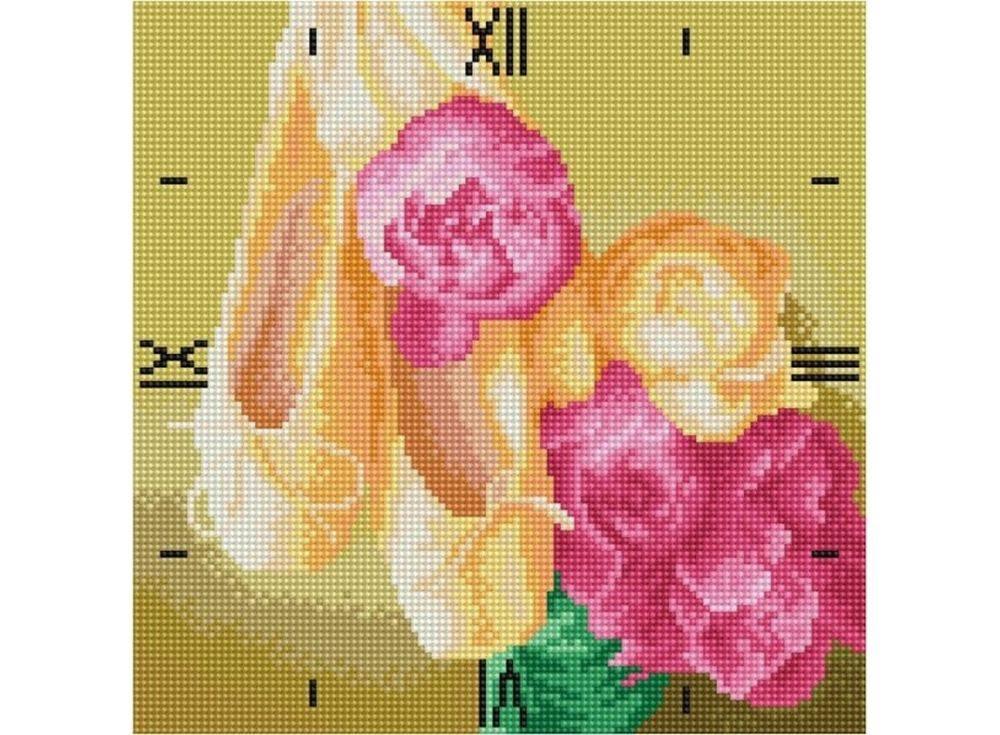 Алмазные часы «Нежность»Color Kit (Алмазные часы)<br><br><br>Артикул: 7303004-P<br>Основа: Холст на подрамнике<br>Сложность: сложные<br>Размер: 30x30 см<br>Выкладка: Полная<br>Количество цветов: 15-25<br>Тип страз: Круглые непрозрачные (акриловые)