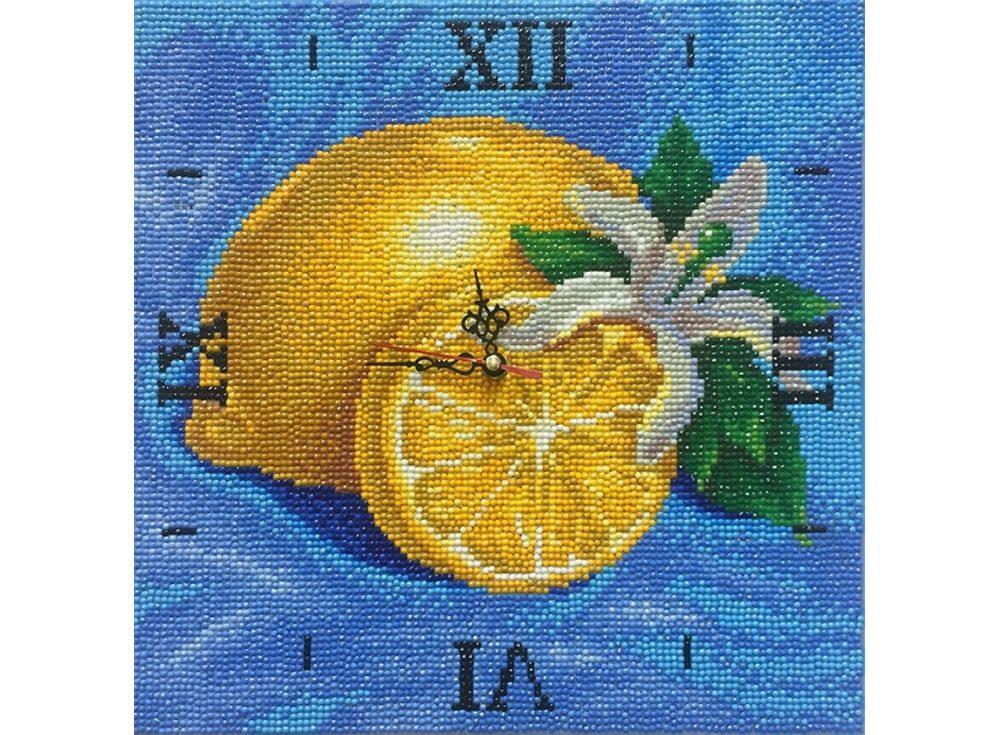 Алмазные часы «Лимонная фантазия»Color Kit (Алмазные часы)<br><br><br>Артикул: 7303005-P<br>Основа: Холст на подрамнике<br>Сложность: сложные<br>Размер: 30x30 см<br>Выкладка: Полная<br>Количество цветов: 15-25<br>Тип страз: Круглые непрозрачные (акриловые)