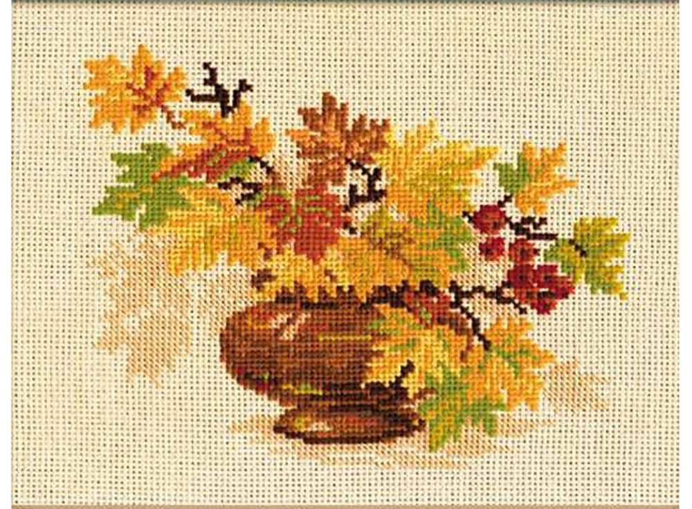 Набор для вышивания «Осенний букет»Вышивка крестом Риолис<br><br><br>Артикул: 769<br>Основа: канва 10 Aida Zweigart<br>Размер: 30х24 см<br>Техника вышивки: счетный крест<br>Серия: Риолис (Сотвори Сама)<br>Тип схемы вышивки: Цветная схема<br>Цвет канвы: Бежевый<br>Количество цветов: 10<br>Художник, дизайнер: Светлана Сидорова<br>Заполнение: Полное<br>Рисунок на канве: не нанесён<br>Техника: Вышивка крестом