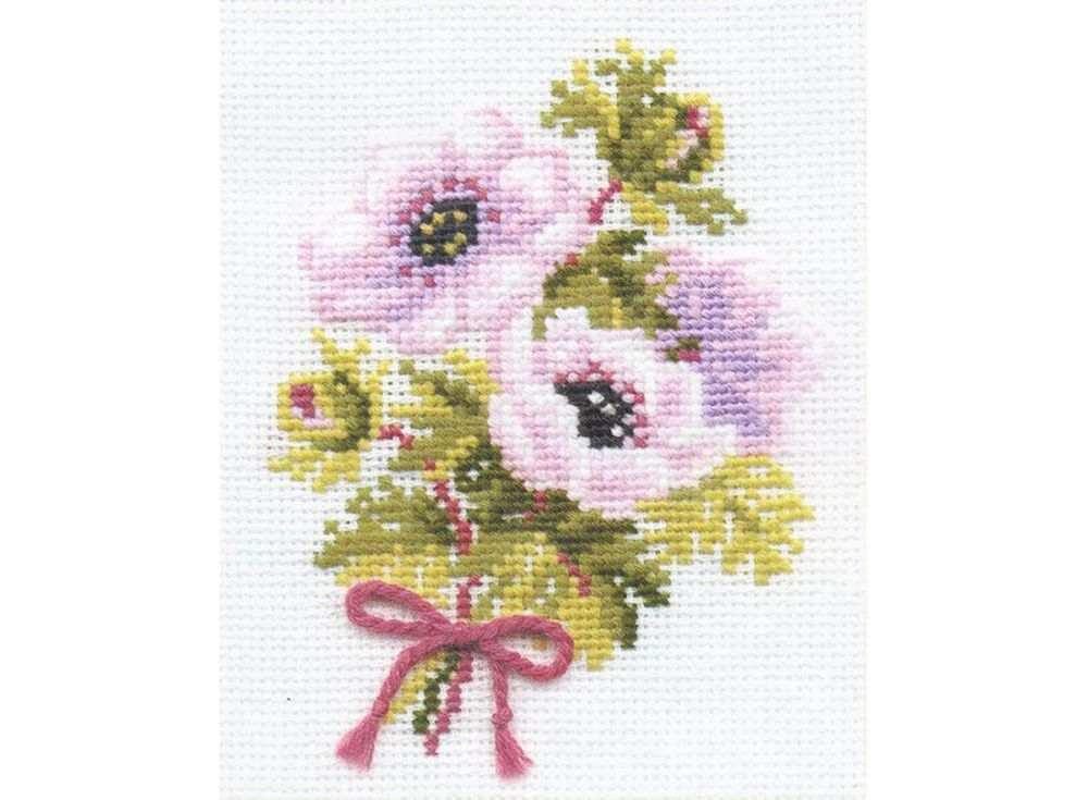 Купить Вышивка крестом, Набор для вышивания «Анемоны», Риолис (Сотвори Сама), 13x16 см, 790