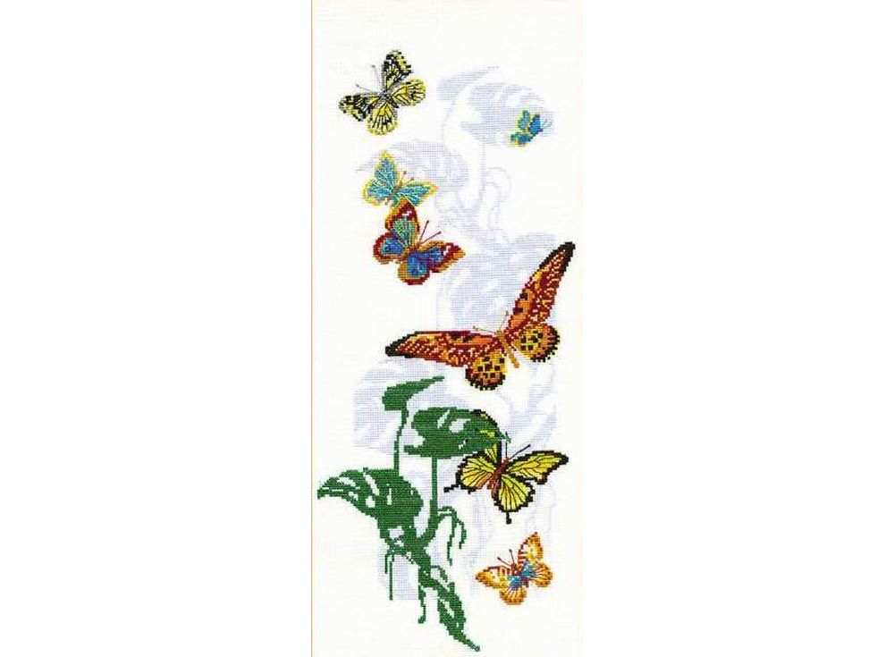 Набор для вышивания «Экзотические бабочки»Вышивка крестом Риолис<br><br><br>Артикул: 903<br>Основа: канва 15 Aida Zweigart<br>Размер: 22х50 см<br>Техника вышивки: счетный крест<br>Серия: Риолис (Сотвори Сама)<br>Тип схемы вышивки: Цветная схема<br>Цвет канвы: Белый<br>Количество цветов: 18<br>Художник, дизайнер: Елена Колмакова<br>Заполнение: Полное<br>Рисунок на канве: не нанесён<br>Техника: Вышивка крестом