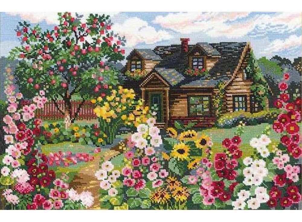Набор для вышивания «Цветущий сад»Вышивка крестом Риолис<br><br><br>Артикул: 978<br>Основа: канва 15 Aida Zweigart<br>Размер: 38х26 см<br>Техника вышивки: счетный крест<br>Серия: Риолис (Сотвори Сама)<br>Тип схемы вышивки: Цветная схема<br>Цвет канвы: Белый<br>Количество цветов: 24<br>Художник, дизайнер: Юлия Красавина<br>Заполнение: Полное<br>Рисунок на канве: не нанесён<br>Техника: Вышивка крестом