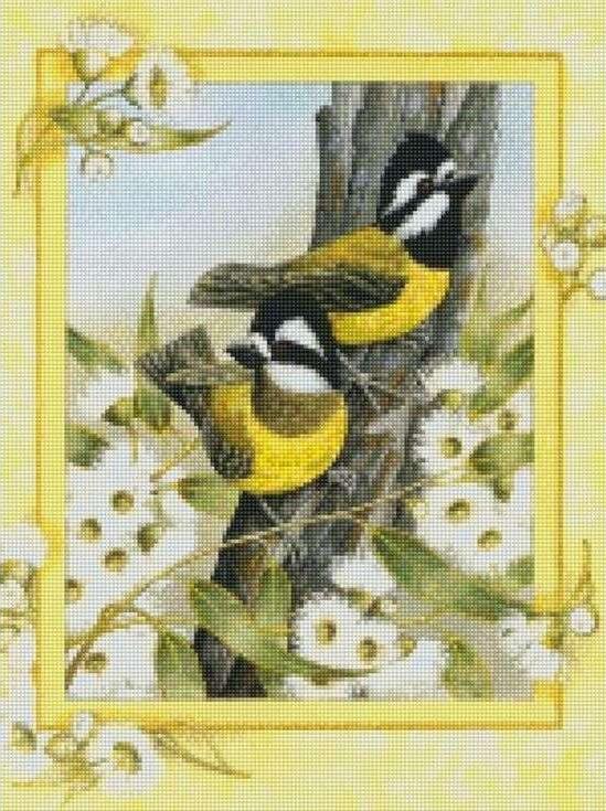 Стразы «Птицы на ветке»Цветной<br><br><br>Артикул: AG343<br>Основа: Холст на подрамнике<br>Сложность: сложные<br>Размер: 40x50 см<br>Выкладка: Полная<br>Количество цветов: 20-35<br>Тип страз: Круглые непрозрачные (акриловые)