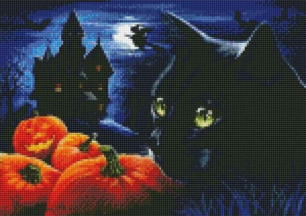 Стразы «Кот в Хэллоуин»Цветной<br><br><br>Артикул: AG350<br>Основа: Холст на подрамнике<br>Сложность: сложные<br>Размер: 40x50 см<br>Выкладка: Полная<br>Количество цветов: 20-35<br>Тип страз: Круглые непрозрачные (акриловые)