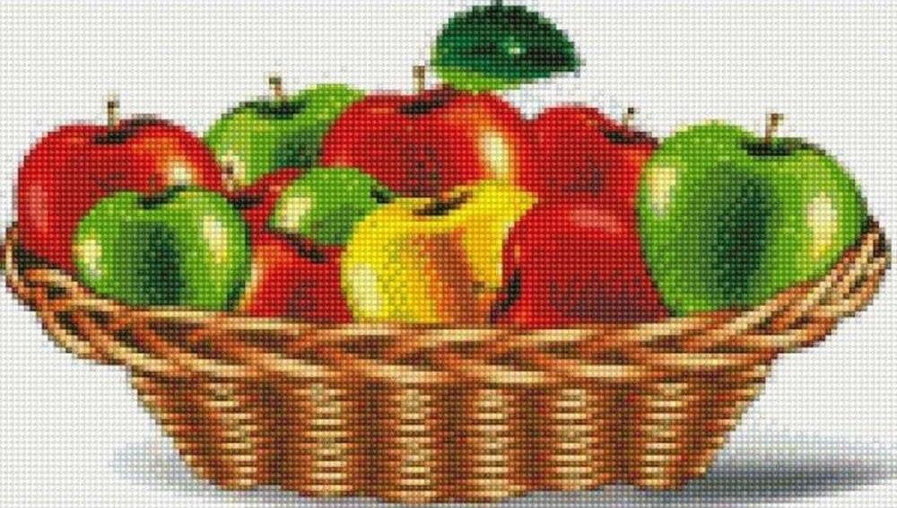 Стразы «Яблочная корзина»Цветной<br><br><br>Артикул: AG356<br>Основа: Холст на подрамнике<br>Сложность: сложные<br>Размер: 40x50 см<br>Выкладка: Полная<br>Количество цветов: 20-35<br>Тип страз: Круглые непрозрачные (акриловые)