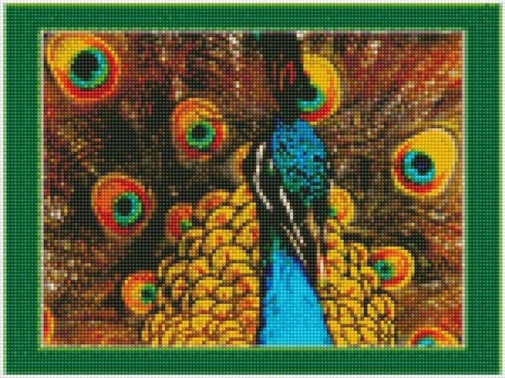 Стразы «Царственный павлин»Цветной<br><br><br>Артикул: AG359<br>Основа: Холст на подрамнике<br>Сложность: сложные<br>Размер: 40x50 см<br>Выкладка: Полная<br>Количество цветов: 20-35<br>Тип страз: Круглые непрозрачные (акриловые)