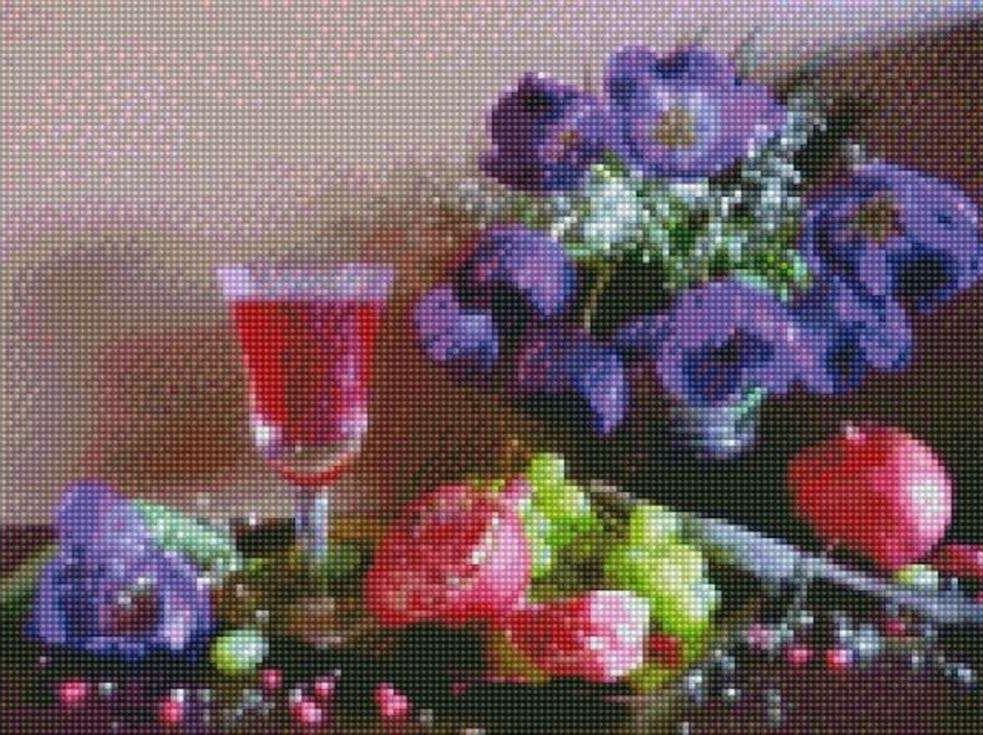 Стразы «Натюрморт с гранатом»Цветной<br><br><br>Артикул: AG360<br>Основа: Холст на подрамнике<br>Сложность: сложные<br>Размер: 40x50 см<br>Выкладка: Полная<br>Количество цветов: 20-35<br>Тип страз: Круглые непрозрачные (акриловые)