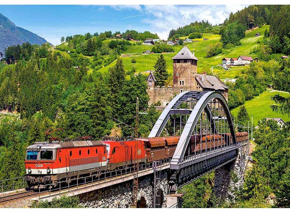 Пазлы «Поезд на мосту»Пазлы от производителя Castorland<br><br><br>Артикул: B52462<br>Размер: 47x33 см