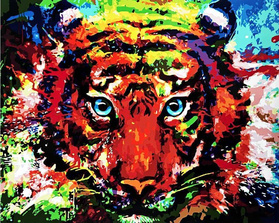 Картина по номерам «Разноцветный тигр»Paintboy (Premium)<br><br><br>Артикул: GX3747<br>Основа: Холст<br>Сложность: средние<br>Размер: 40x50 см<br>Количество цветов: 26<br>Техника рисования: Без смешивания красок