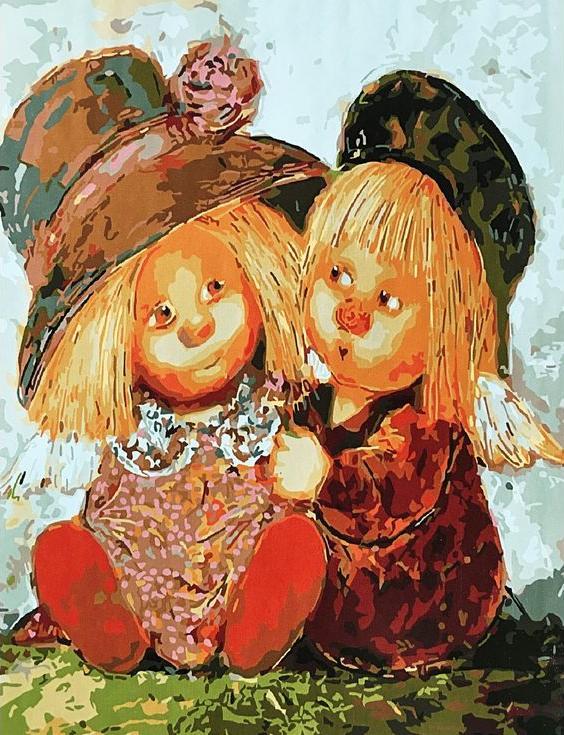 Картина по номерам «Два солнечных ангела» Галины ЧувиляевойPaintboy (Premium)<br><br><br>Артикул: GX3804<br>Основа: Холст<br>Сложность: средние<br>Размер: 40x50 см<br>Количество цветов: 24<br>Техника рисования: Без смешивания красок