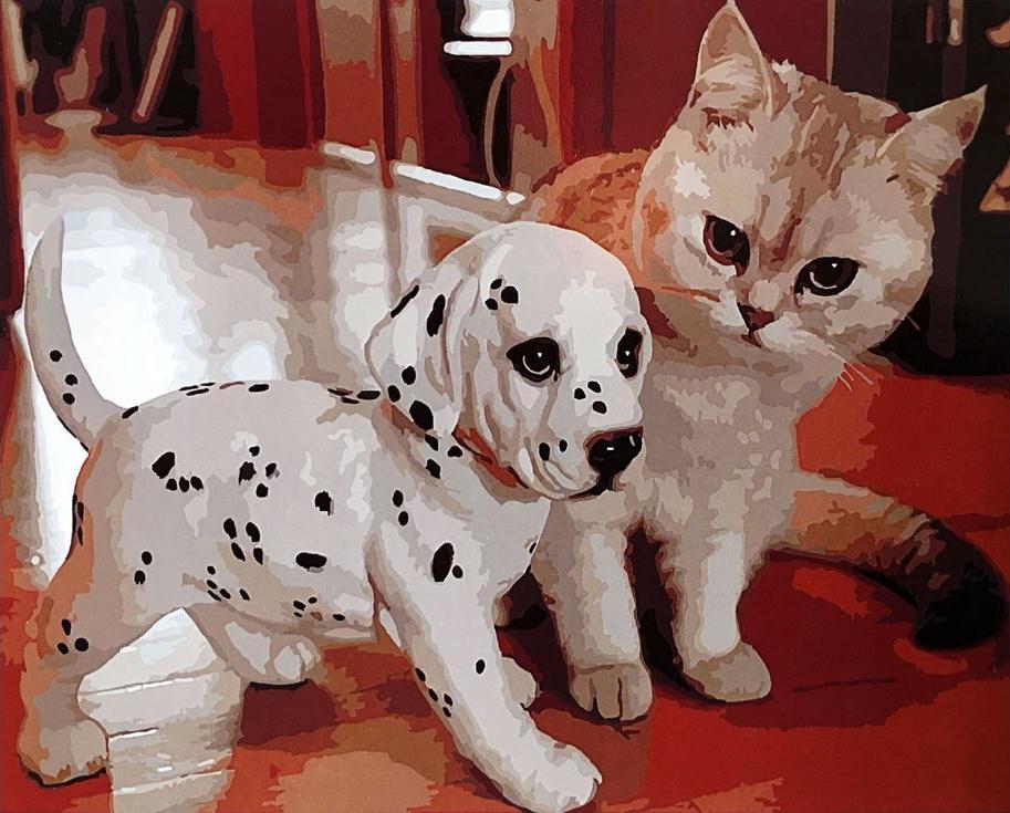 «Щенок далматинец и котенок»Paintboy (Premium)<br><br><br>Артикул: GX3814<br>Основа: Холст<br>Сложность: средние<br>Размер: 40x50 см<br>Количество цветов: 24<br>Техника рисования: Без смешивания красок