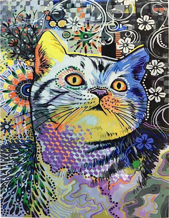 Картина по номерам «Цветная кошка»Paintboy (Premium)<br><br><br>Артикул: GX3891<br>Основа: Холст<br>Сложность: средние<br>Размер: 40x50 см<br>Количество цветов: 25<br>Техника рисования: Без смешивания красок