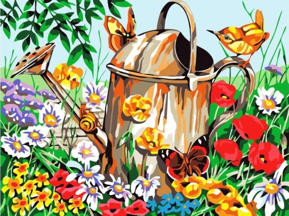 Картина по номерам «Лейка в саду»Цветной (Standart)<br><br><br>Артикул: GX6420_Z<br>Основа: Холст<br>Сложность: сложные<br>Размер: 40x50 см<br>Количество цветов: 25<br>Техника рисования: Без смешивания красок