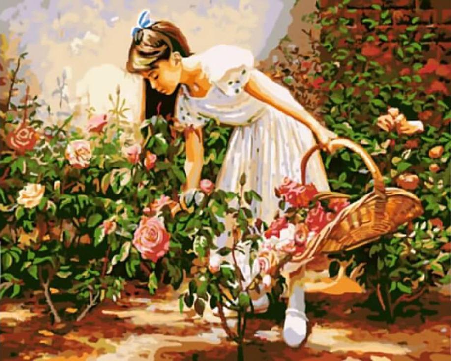 «Девочка с корзиной роз»Цветной (Standart)<br><br><br>Артикул: GX8848_Z<br>Основа: Холст<br>Сложность: сложные<br>Размер: 40x50 см<br>Количество цветов: 25<br>Техника рисования: Без смешивания красок