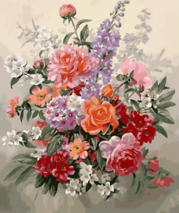«Цветочная фантазия» Альберта УильямсаЦветной (Standart)<br><br><br>Артикул: GX8870_Z<br>Основа: Холст<br>Сложность: сложные<br>Размер: 40x50 см<br>Количество цветов: 25<br>Техника рисования: Без смешивания красок